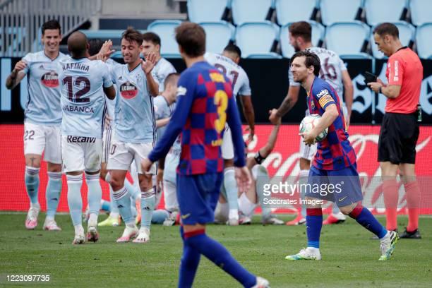 Lionel Messi of FC Barcelona during the La Liga Santander match between Celta de Vigo v FC Barcelona at the Estadio de Balaidos on June 27, 2020 in...