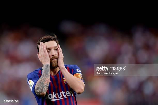 Lionel Messi of FC Barcelona during the La Liga Santander match between FC Barcelona v SD Huesca at the Camp Nou on September 2 2018 in Barcelona...