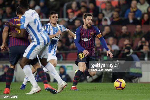 Lionel Messi of FC Barcelona during the La Liga Santander match between FC Barcelona v Leganes at the Camp Nou on January 20 2019 in Barcelona Spain