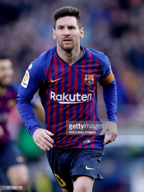 Lionel Messi of FC Barcelona during the La Liga Santander match between FC Barcelona v Espanyol at the Camp Nou on March 30 2019 in Barcelona Spain