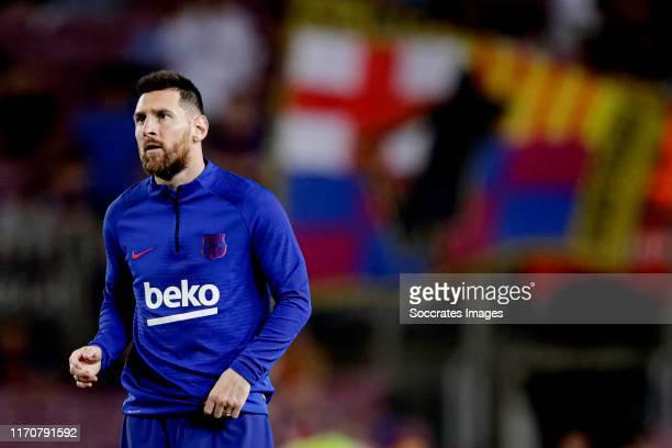 Lionel Messi of FC Barcelona during the La Liga Santander match between FC Barcelona v Villarreal at the Camp Nou on September 24, 2019 in Barcelona...