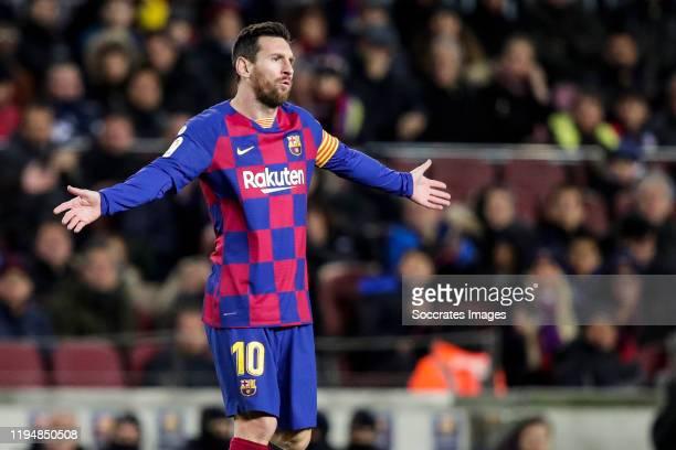 Lionel Messi of FC Barcelona during the La Liga Santander match between FC Barcelona v Granada at the Camp Nou on January 19 2020 in Barcelona Spain