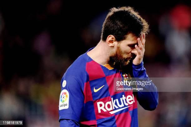 Lionel Messi of FC Barcelona during the La Liga Santander match between FC Barcelona v Levante at the Camp Nou on February 2 2020 in Barcelona Spain