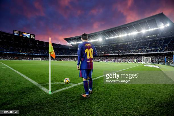 Lionel Messi of FC Barcelona during the La Liga Santander match between FC Barcelona v Levante at the Camp Nou on January 7 2018 in Barcelona Spain