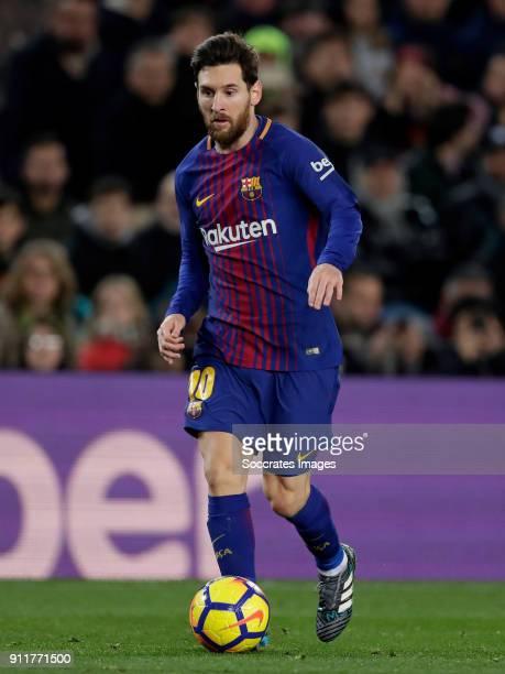 Lionel Messi of FC Barcelona during the La Liga Santander match between FC Barcelona v Deportivo Alaves at the Camp Nou on January 28 2018 in...
