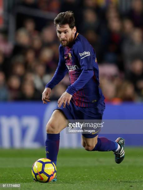 Lionel Messi of FC Barcelona during the La Liga Santander match between FC Barcelona v Deportivo Alaves at the Camp Nou on January 28 2018 in...