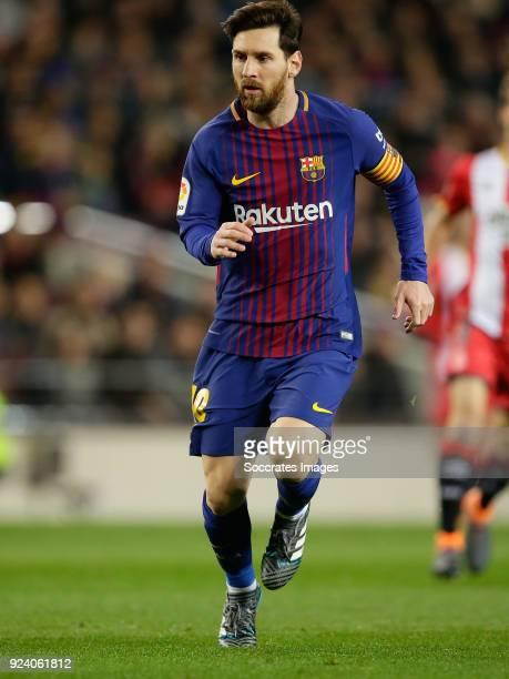 Lionel Messi of FC Barcelona during the La Liga Santander match between FC Barcelona v Girona at the Camp Nou on February 24 2018 in Barcelona Spain