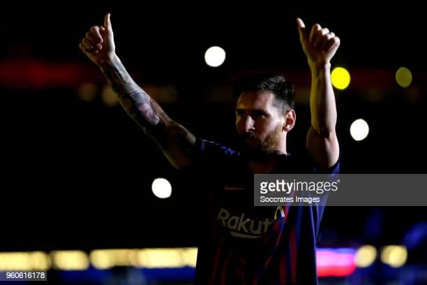 Lionel Messi of FC Barcelona during the La Liga Santander match between FC Barcelona v Real Sociedad at the Camp Nou on May 20 2018 in Barcelona Spain