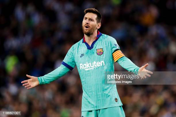 Lionel Messi of FC Barcelona during the La Liga Santander match between Real Sociedad v FC Barcelona at the Estadio Anoeta on December 14 2019 in San...