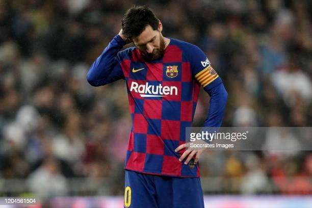 Lionel Messi of FC Barcelona during the La Liga Santander match between Real Madrid v FC Barcelona at the Santiago Bernabeu on March 1 2020 in Madrid...