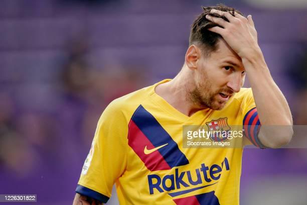 Lionel Messi of FC Barcelona during the La Liga Santander match between Real Valladolid v FC Barcelona at the Estadio Municipal José Zorrilla on July...