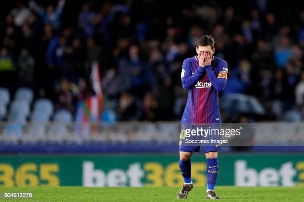 Lionel Messi of FC Barcelona during the La Liga Santander match between Real Sociedad v FC Barcelona at the Estadio Anoeta on January 14 2018 in San...