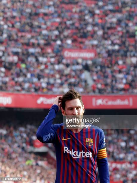 Lionel Messi of FC Barcelona during the La Liga Santander match between Sevilla v FC Barcelona at the Estadio Ramon Sanchez Pizjuan on February 23,...