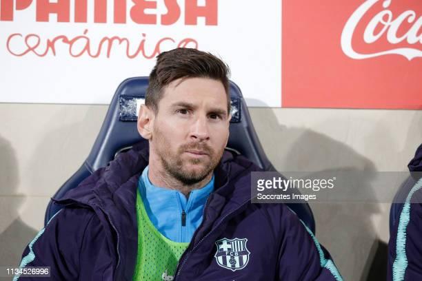 Lionel Messi of FC Barcelona during the La Liga Santander match between Villarreal v FC Barcelona at the Estadio de la Ceramica on April 2 2019 in...
