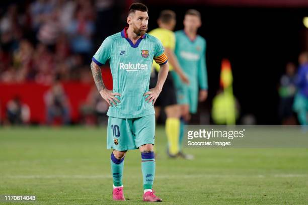 Lionel Messi of FC Barcelona during the La Liga Santander match between Granada v FC Barcelona at the Nuevo Estadio de Los Cármenes on September 21...