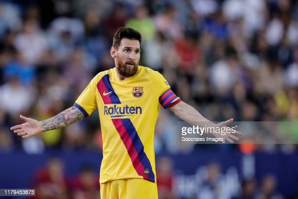 Lionel Messi of FC Barcelona during the La Liga Santander match between Levante v FC Barcelona at the Estadi Ciutat de Valencia on November 2 2019 in...