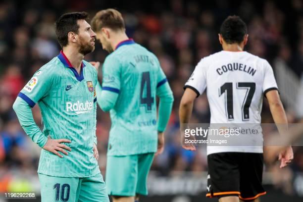 Lionel Messi of FC Barcelona during the La Liga Santander match between Valencia v FC Barcelona at the Estadio de Mestalla on January 25 2020 in...