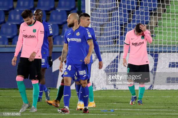 Lionel Messi of FC Barcelona during the La Liga Santander match between Getafe v FC Barcelona at the Coliseum Alfonso Perez on October 17 2020 in...