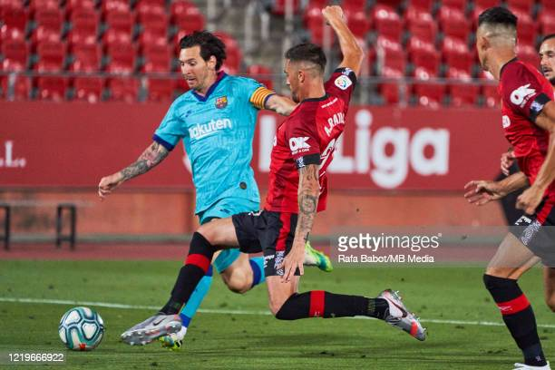 Lionel Messi of FC Barcelona during the Liga match between RCD Mallorca and FC Barcelona at Iberostar Estadi on June 13 2020 in Mallorca Spain