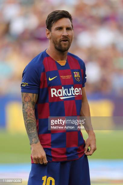 Lionel Messi of FC Barcelona during the PreSeason Friendly between FC Barcelona and Arsenal at Nou Camp on August 4 2019 in Barcelona Spain