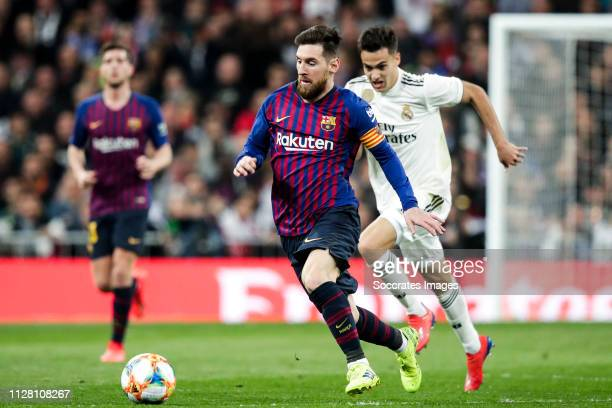 Lionel Messi of FC Barcelona during the Spanish Copa del Rey match between Real Madrid v FC Barcelona at the Santiago Bernabeu on February 27 2019 in...