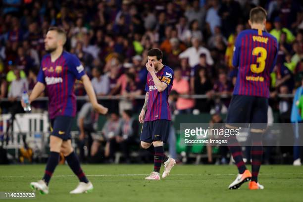Lionel Messi of FC Barcelona during the Spanish Copa del Rey match between FC Barcelona v Valencia at the Benito Villamarin Stadium on May 25 2019 in...