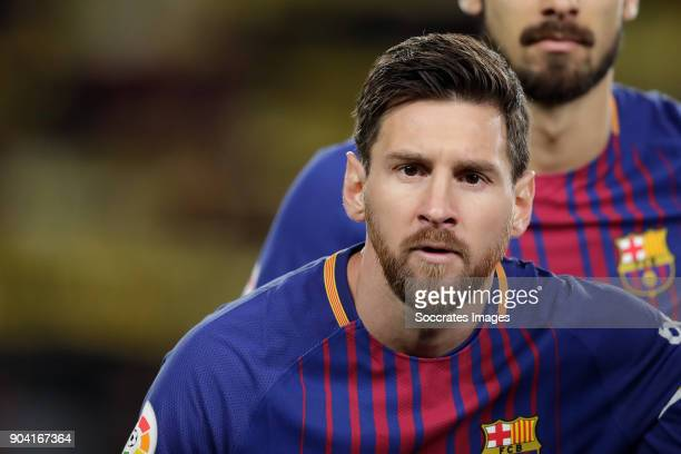 Lionel Messi of FC Barcelona during the Spanish Copa del Rey match between FC Barcelona v Celta de Vigo at the Camp Nou on January 11 2018 in...