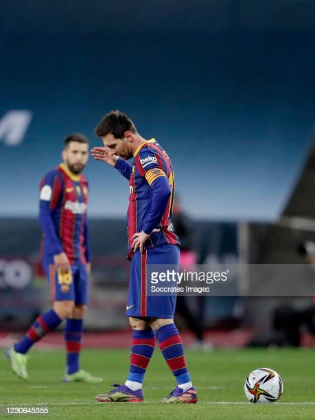 Lionel Messi of FC Barcelona during the Spanish Super Cup match between FC Barcelona v Athletic de Bilbao at the La Cartuja Stadium on January 17,...