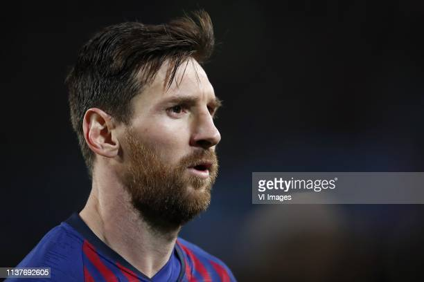 Lionel Messi of FC Barcelona during the UEFA Champions League quarter final match between FC Barcelona and Manchester United FC at Camp Nou on April...
