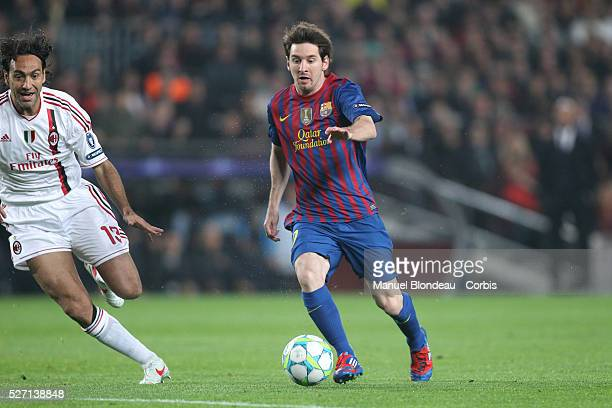 Lionel Messi of FC Barcelona during the UEFA Champions League quarter final second leg match between FC Barcelona and AC Milan at Camp Nou stadium on...