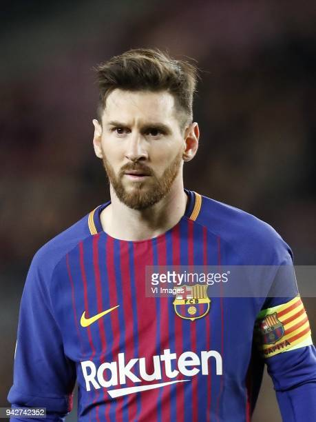 Lionel Messi of FC Barcelona during the UEFA Champions League quarter final match between FC Barcelona and AS Roma at the Camp Nou stadium on April...
