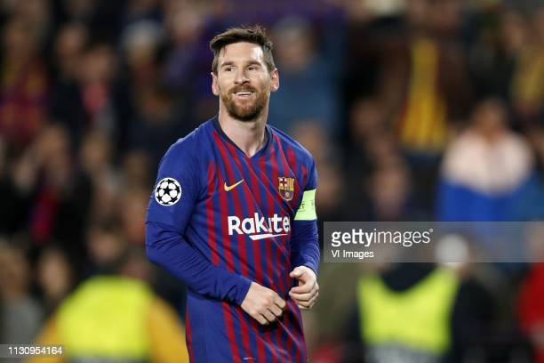 Lionel Messi of FC Barcelona during the UEFA Champions League round of 16 match between FC Barcelona and Olympique Lyonnais at Camp Nou on March 13...