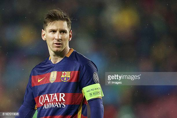 Lionel Messi of FC Barcelona during the UEFA Champions League round of 16 match between FC Barcelona and Arsenal on March 16 2015 at the CampNou...
