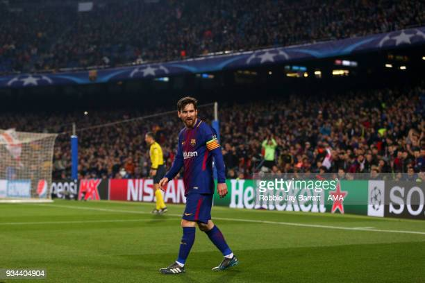 Lionel Messi of FC Barcelona during the UEFA Champions League Round of 16 Second Leg match FC Barcelona and Chelsea FC at Camp Nou on March 14 2018...