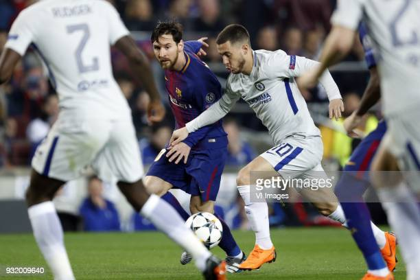 Lionel Messi of FC Barcelona Eden Hazard of Chelsea FC during the UEFA Champions League round of 16 match between FC Barcelona and Chelsea FC at the...