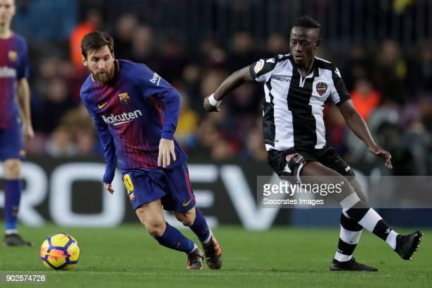 Lionel Messi of FC Barcelona Emmanuel Boateng of Levante during the La Liga Santander match between FC Barcelona v Levante at the Camp Nou on January...