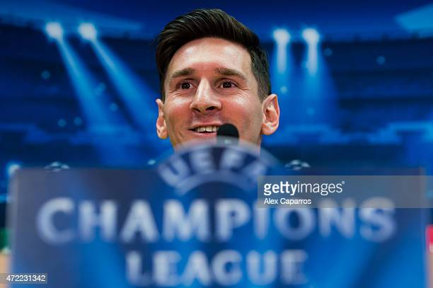 Lionel Messi of FC Barcelona faces the media during a press conference ahead of their UEFA Champions League semifinal first leg match against FC...