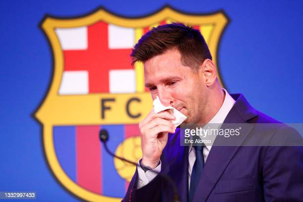 Lionel Messi of FC Barcelona faces the media during a press conference at Nou Camp on August 08, 2021 in Barcelona, Spain.
