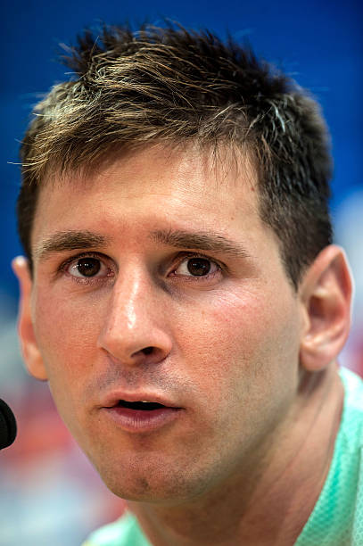 Lionel Messi Of FC Barcelona Faces The Media During A Press Conference At Sant Joan