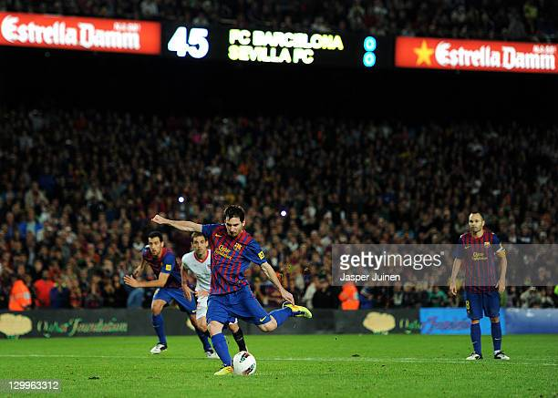 Lionel Messi of FC Barcelona fails to score the opening goal in the last minutes of the game from the penalty spot during the la Liga match between...