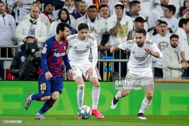 Lionel Messi of FC Barcelona Fede Valverde of Real Madrid Dani Carvajal of Real Madrid during the La Liga Santander match between Real Madrid v FC...