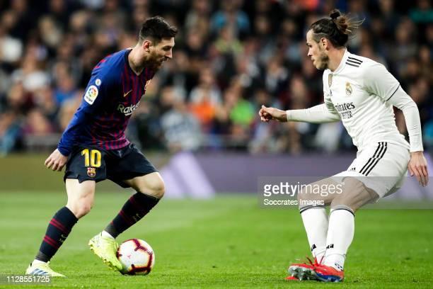 Lionel Messi of FC Barcelona Gareth Bale of Real Madrid during the La Liga Santander match between Real Madrid v FC Barcelona at the Santiago...