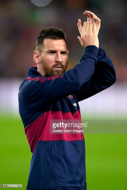 Lionel Messi of FC Barcelona gestures prior to during the Liga match between FC Barcelona and Villarreal CF at Camp Nou on September 24, 2019 in...