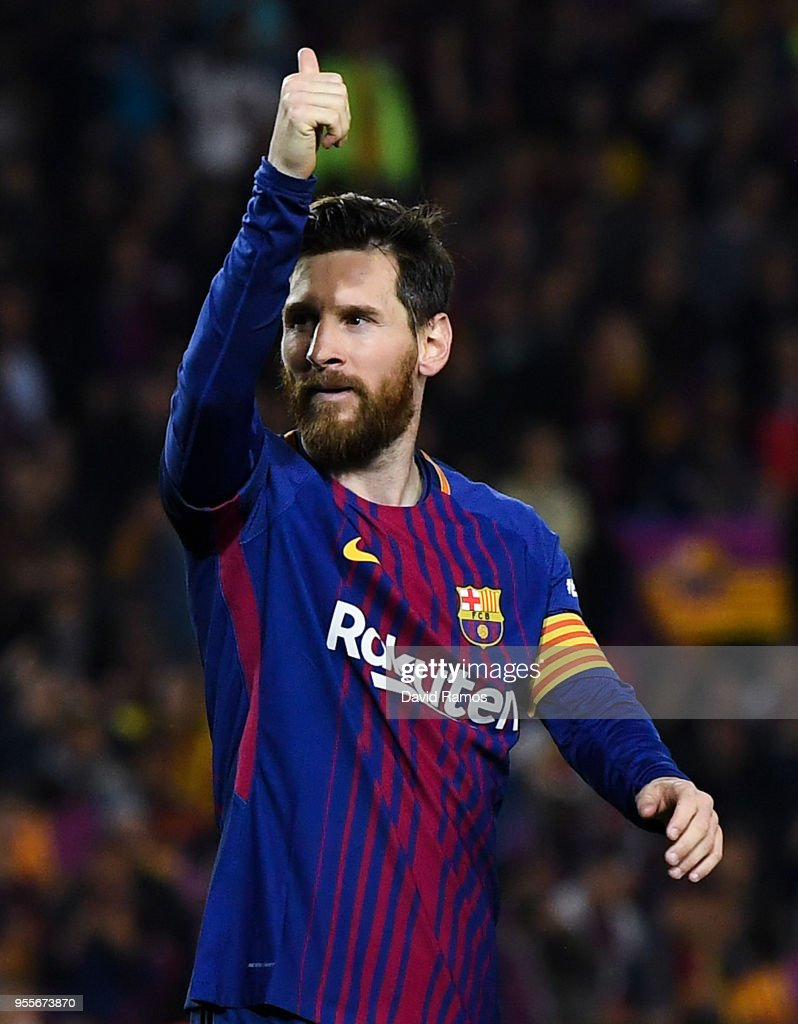 Lionel Messi of FC Barcelona gives his thumbs up during the La Liga match between Barcelona and Real Madrid at Camp Nou on May 6, 2018 in Barcelona, Spain.