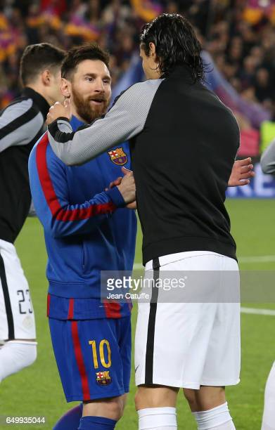 Lionel Messi of FC Barcelona greets Edinson Cavani of PSG before the UEFA Champions League Round of 16 second leg match between FC Barcelona and...