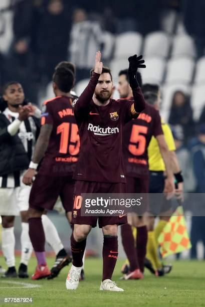 Lionel Messi of FC Barcelona greets the fans after the UEFA Champions League Group D soccer match between FC Juventus and FC Barcelona at the Allianz...