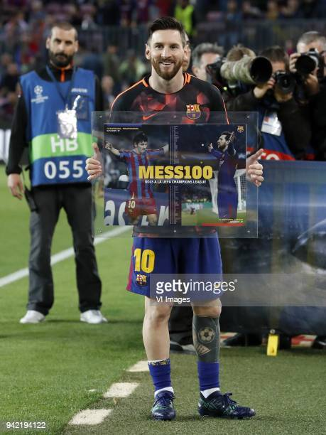 Lionel Messi of FC Barcelona honoured of 100 goals in UEFA Champions League during the UEFA Champions League quarter final match between FC Barcelona...