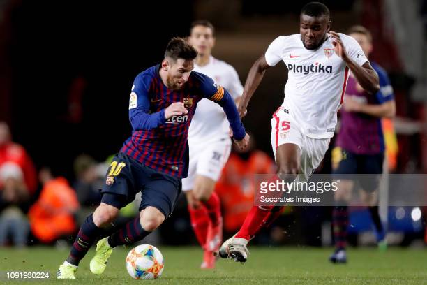 Lionel Messi of FC Barcelona Ibrahim Amadou of Sevilla FC during the Spanish Copa del Rey match between FC Barcelona v Sevilla at the Camp Nou on...