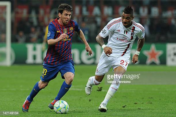Lionel Messi of FC Barcelona in action against KevinPrince Boateng of AC Milan during the UEFA Champions League quarter final first leg match between...