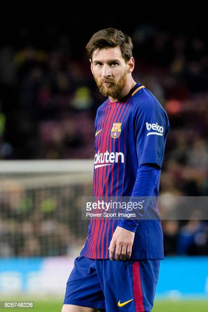 Lionel Messi of FC Barcelona in action during the Copa Del Rey 201718 match between FC Barcelona and Valencia CF at Camp Nou Stadium on 01 February...